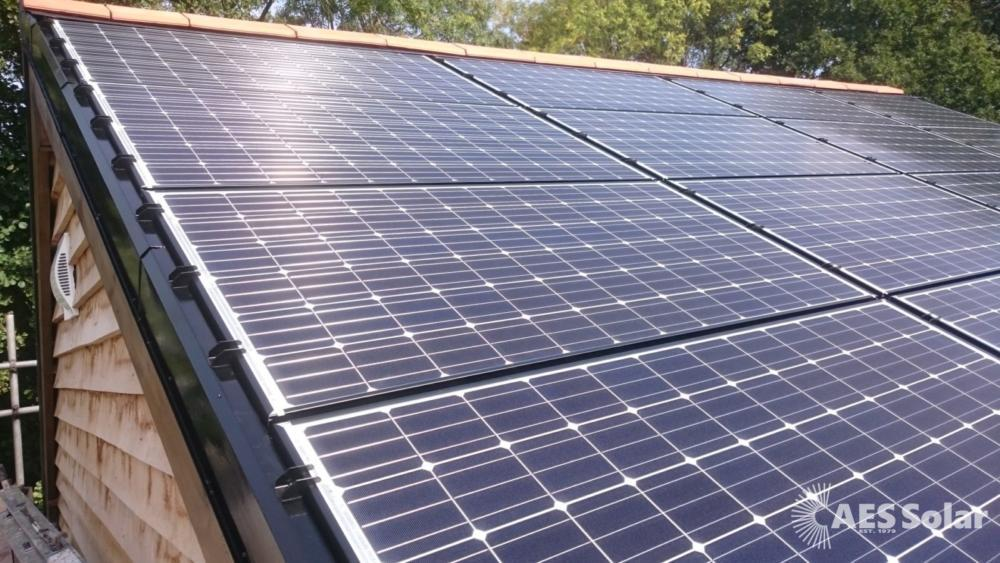 Complete roof covered in solar PV panels