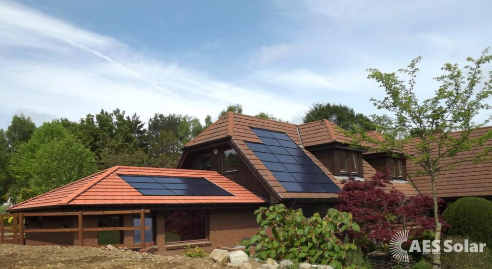 Solar PV tiles integrated into a roof at Banchory, Aberbeenshire