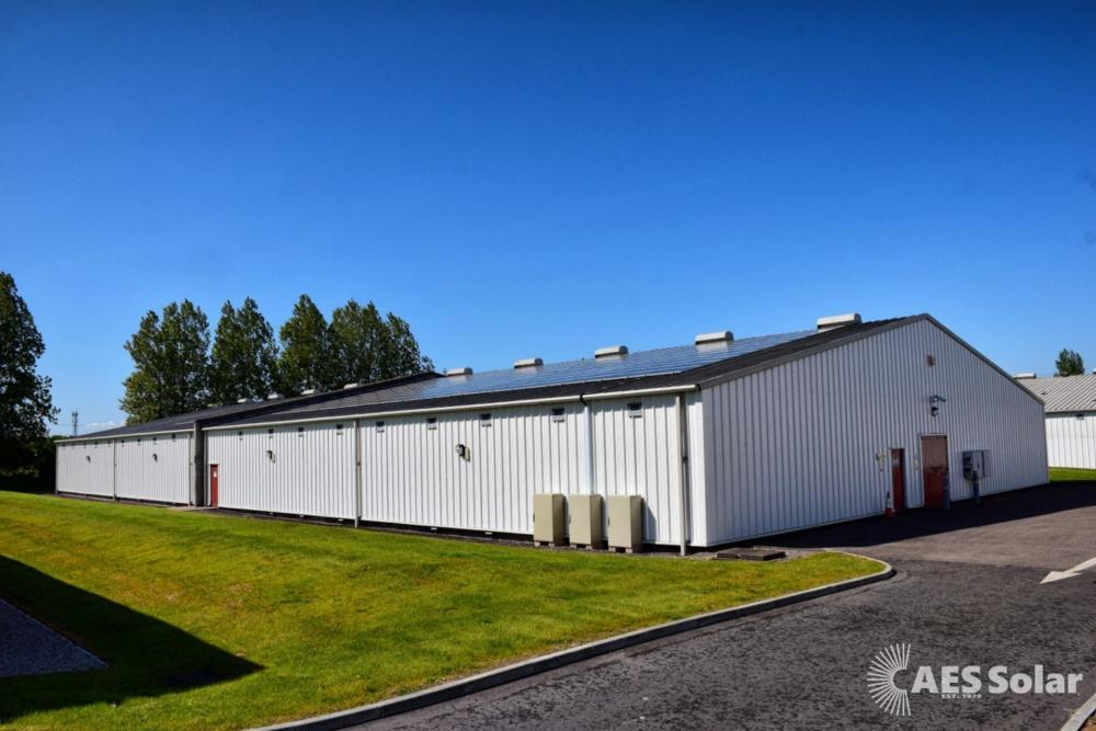 Commercial solar PV at Benromach whisky distillery, Forres, Moray, Scotland