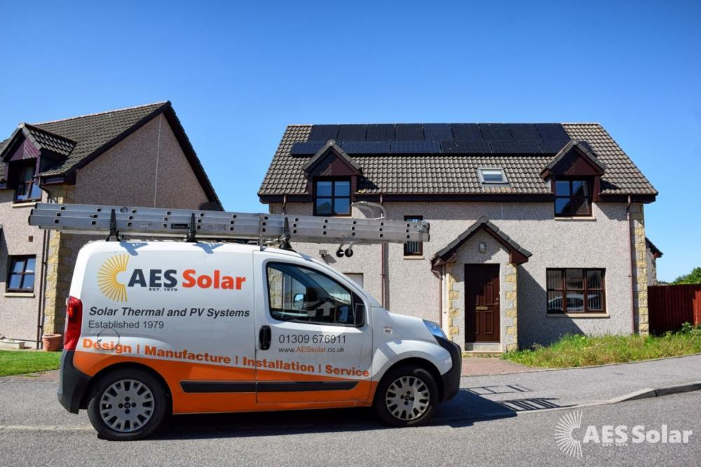 All-black solar PV residential installation in Forres.
