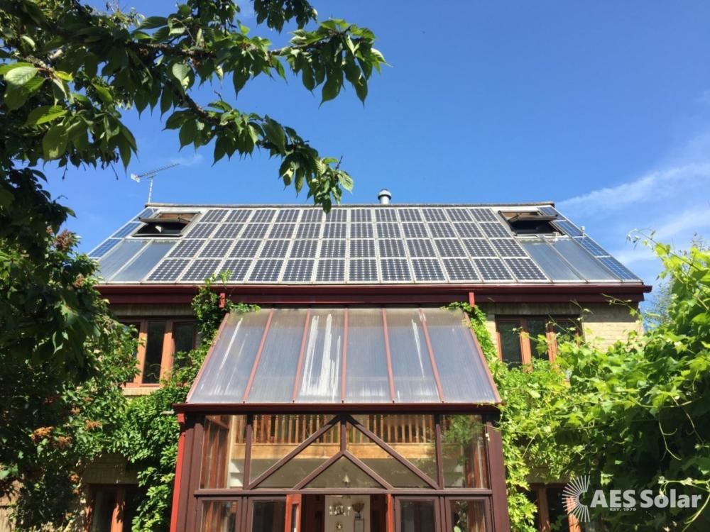 Solar PV and thermal panels on the first solar house in the UK