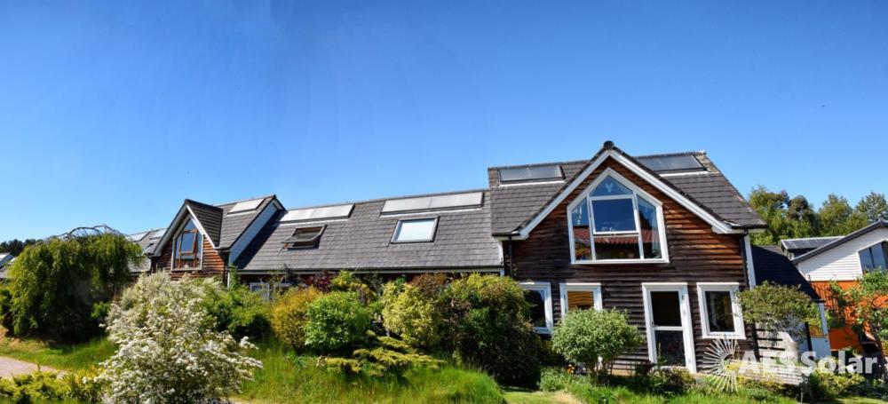 AES Endurance solar thermal panels at Findhorn, Moray.