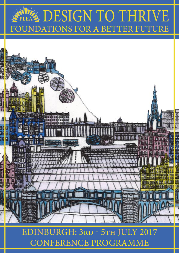 Design to Thrive Conference Programme featuring an illustration of Edinburgh City Centre