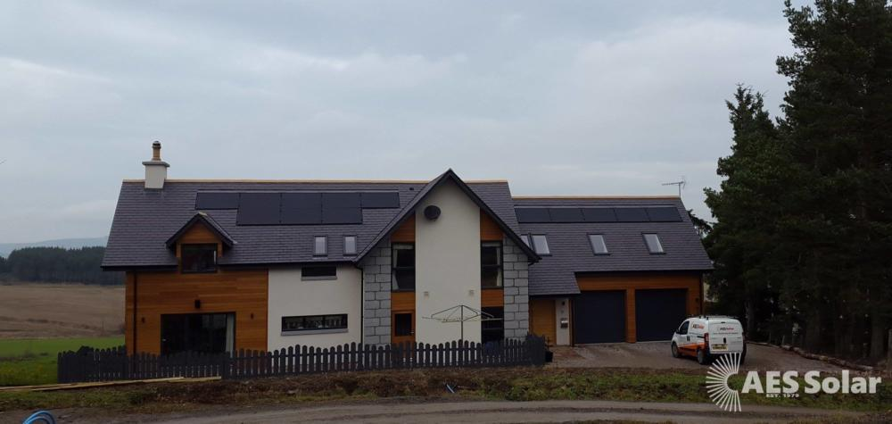 Roof-integrated solar PV for a domestic new build at Banchory, Aberdeenshire