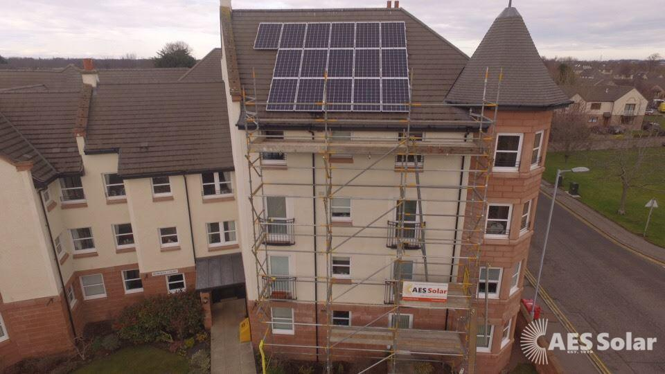 A solar PV system for a flatted development in Forres, Moray.