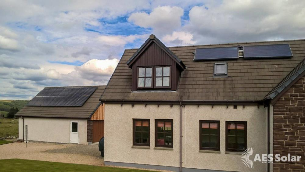 Solar PV and thermal retrofit, in Beauly, Highlands
