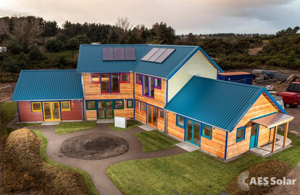 Solar thermal contributing to a district heating system in Findhorn, Moray
