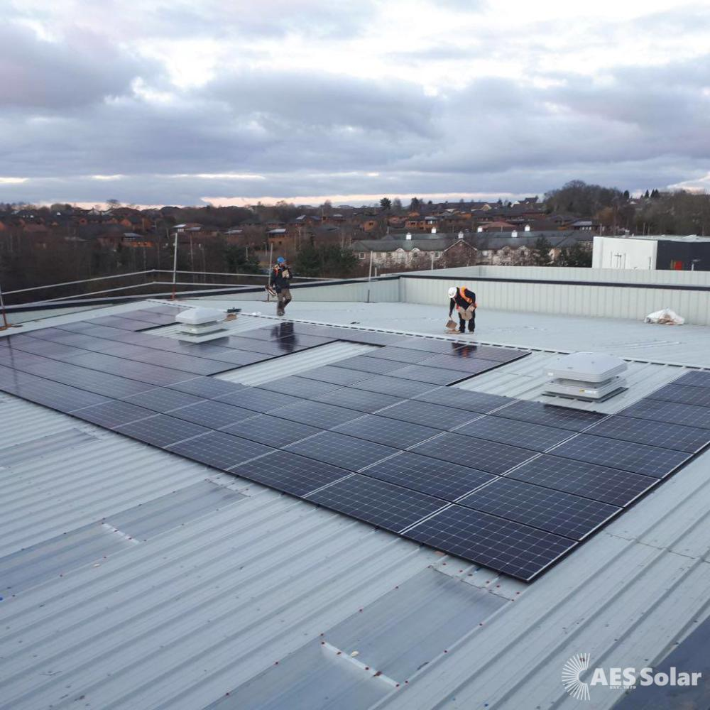 Solar PV on the roof of a new-build car sales showroom in Dundee, Tayside.