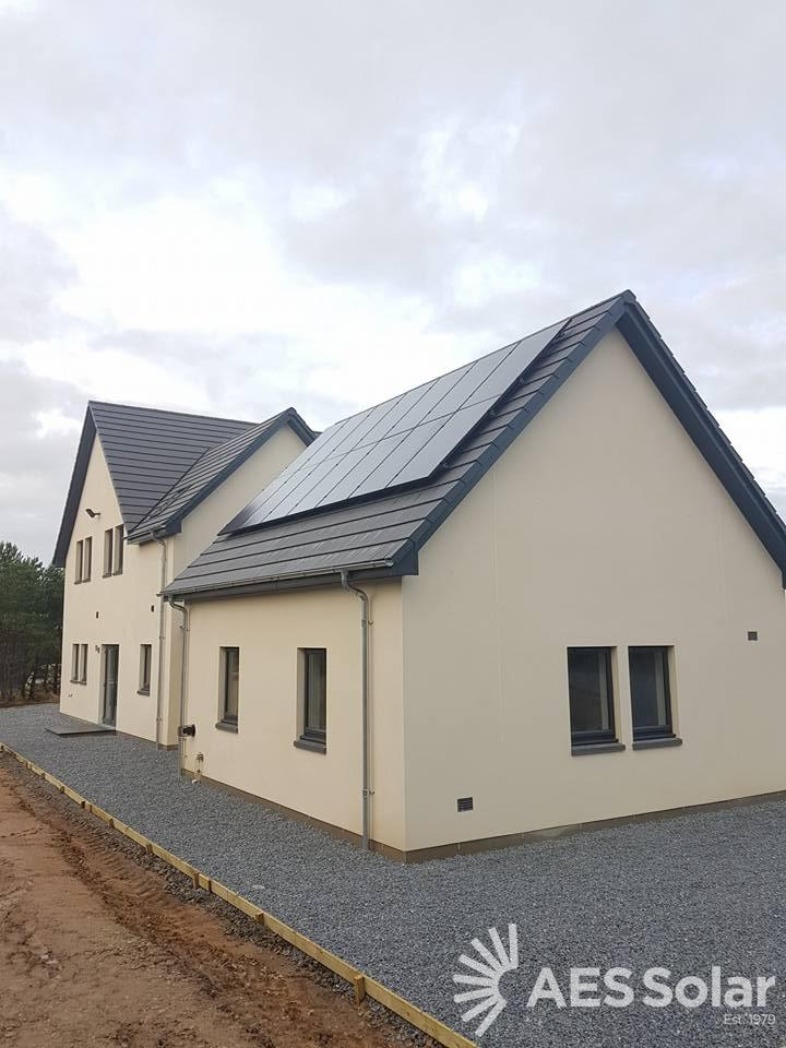 Solar PV install, Birnie, Morayshire. A recent new build 14 solar PV install, outside Elgin
