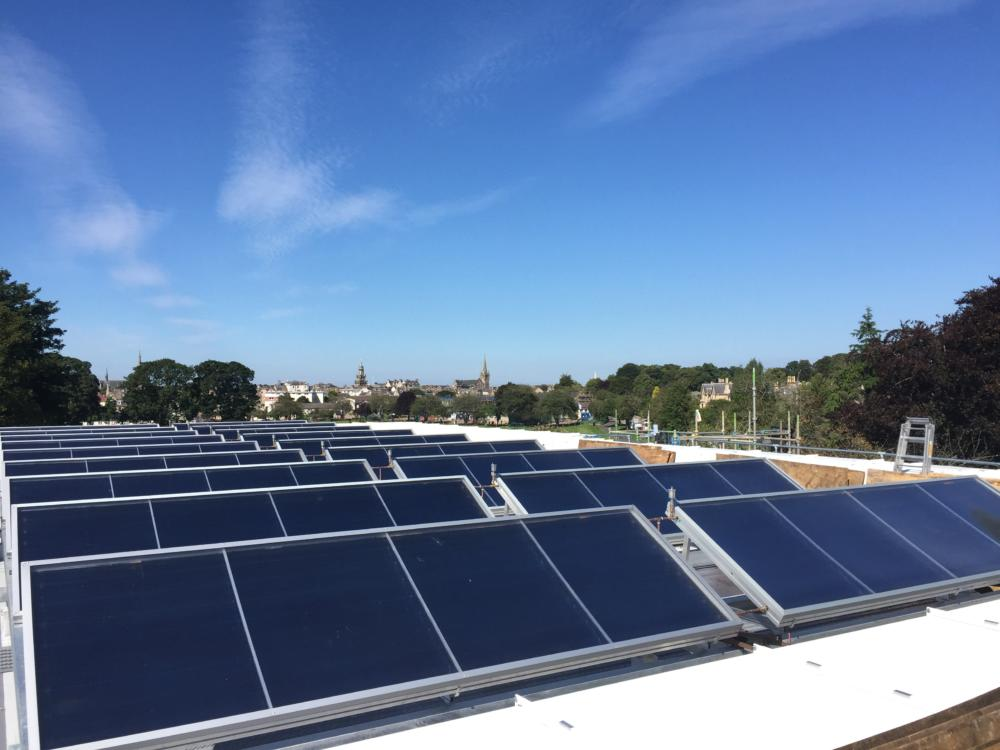 Commercial installation – Solar thermal panels heat the water at Forres Swimming Pool