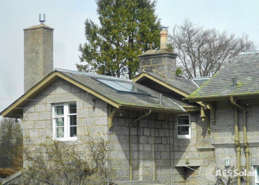 Solar thermal panels installed and maintained on Balmoral Estate, Aberdeenshire