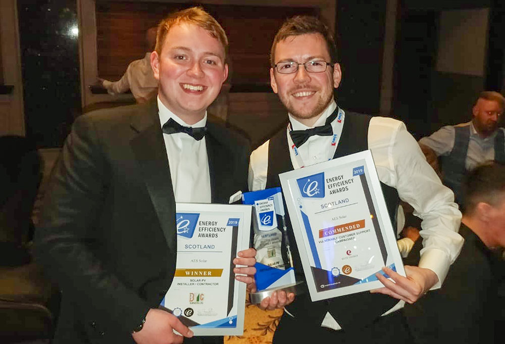 Cameron Duncan (left) and Josh King collected the award at a ceremony in Glasgow.